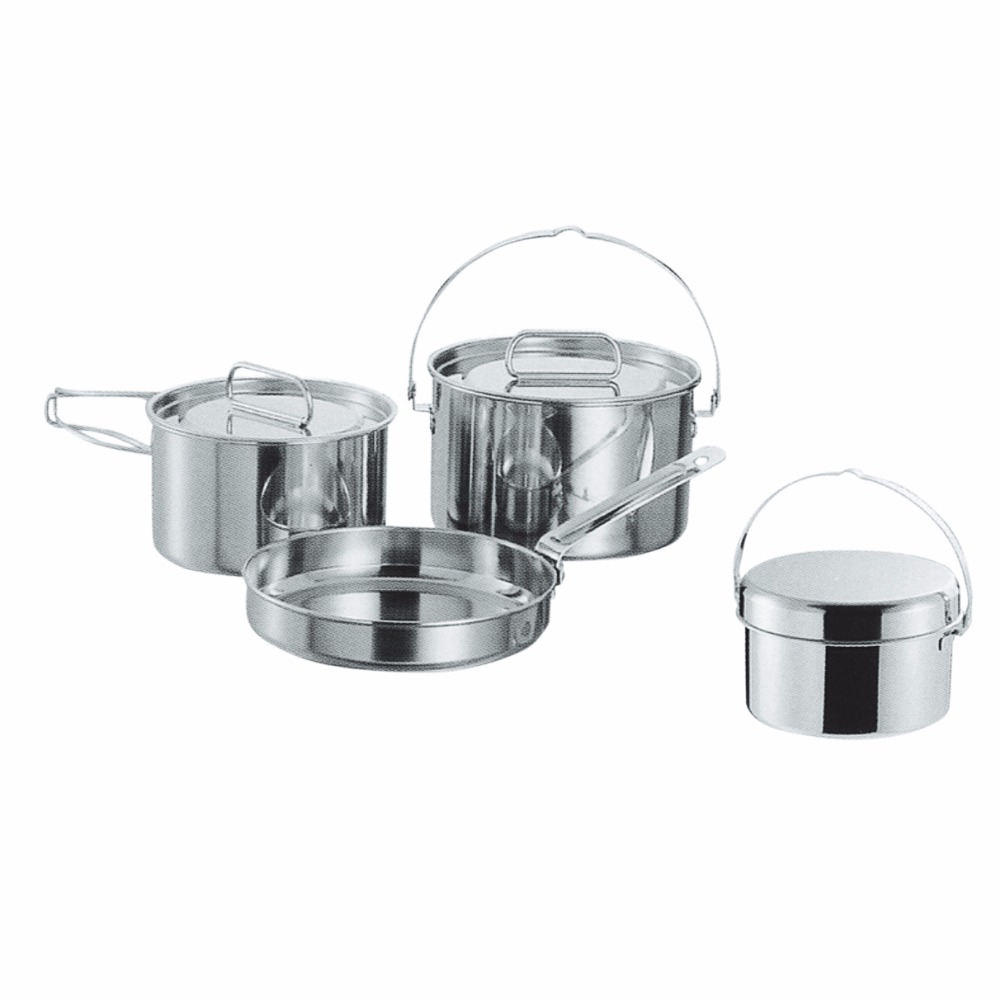 Stainless Steel Hiking Kitchenware and Cookware with with Foldable Handle