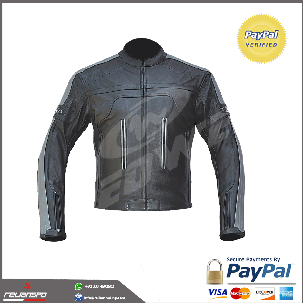 Handmade Titanium Motorcycle Leather Jacket Cowhide Street Cruiser Armor Riding