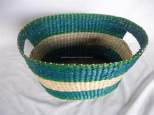 Cut-out handles seagrass bread basket high quality wicker fruit basket easy moving straw kitchen staff basket
