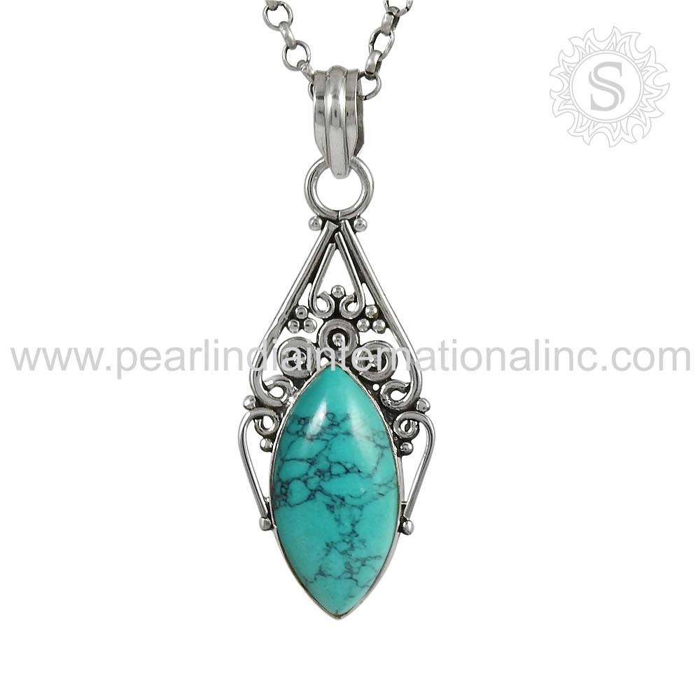 New designed turquoise handmade silver pendant wholesale price 925 sterling silver jewellery jaipur