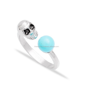 Trendy Turkish Wholesale Handcrafted 925 Sterling Silver Skull Design Jewelry Ring