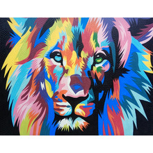 Latest Decorative Modern Abstract Lion Pop Art Oil Dot Painting On Canvas