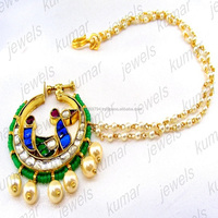 Handmade Colored Kundan Stone Pearl Beaded Big Round Indian Traditional Ethnic Wedding Bridal Wear Jewelry Nath Nose Ring