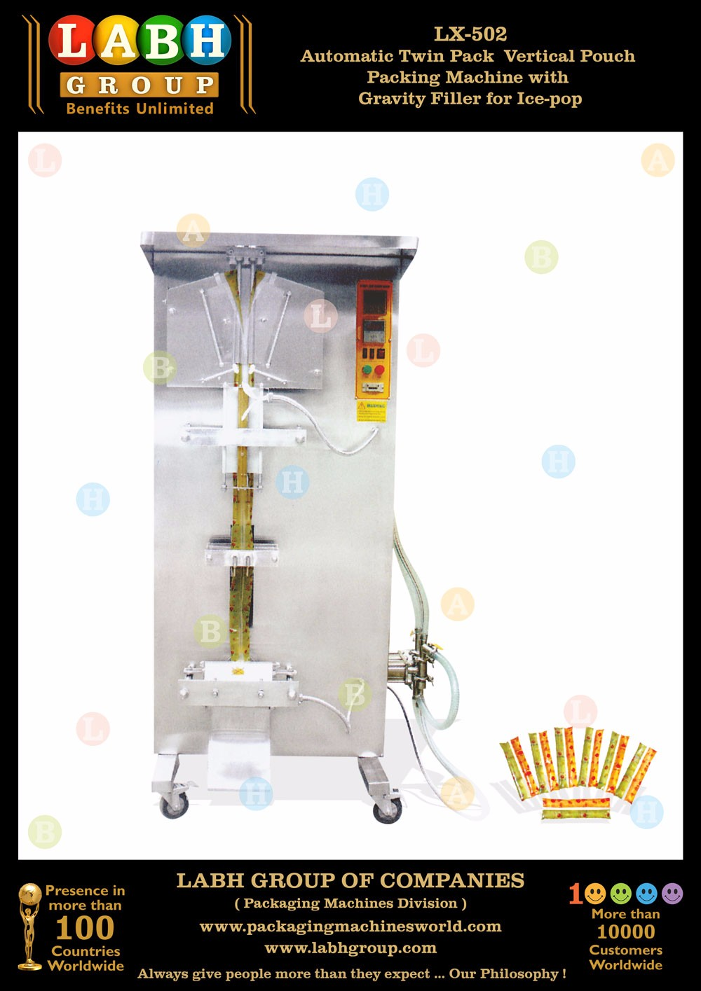Automatic high speed Ice Pop Lolly Stick Tube Packaging Machine
