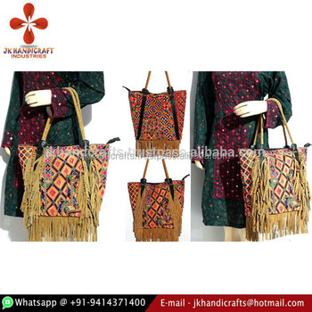 Leather Fringe Tribal Handbag