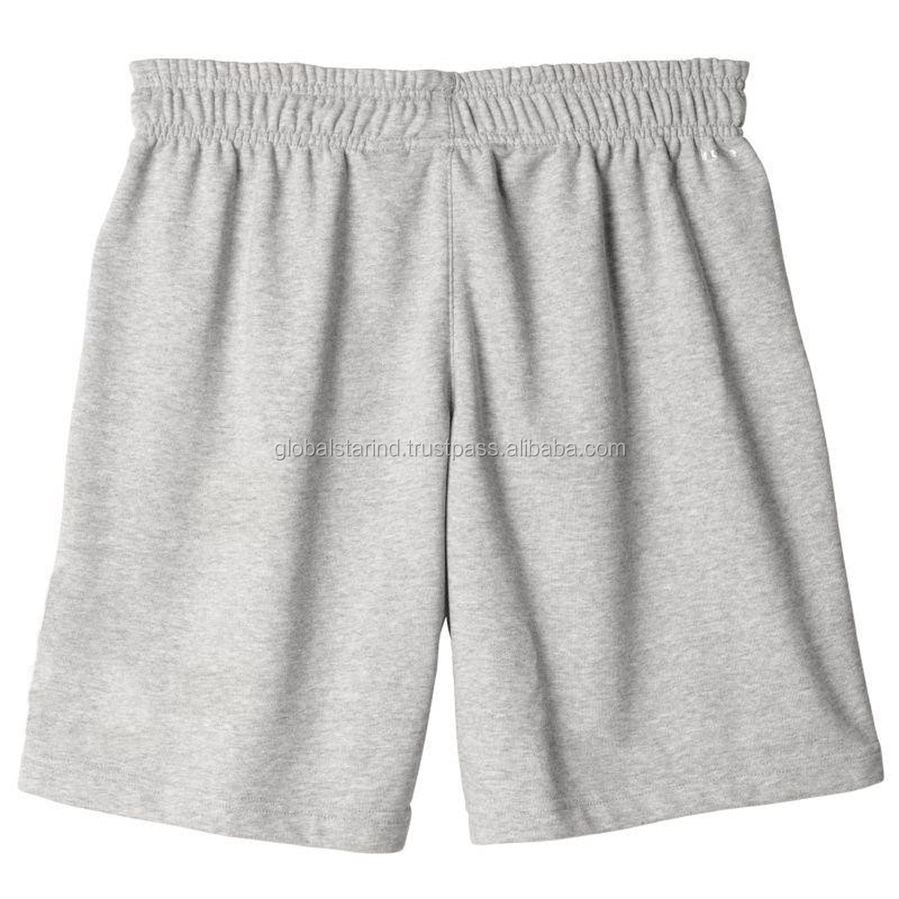 Gray rope elastic band plain sweat short fleece short blank board shorts wholesale for men