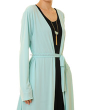 Full Sky Blue Colour Abaya Open Style Very Glamorous