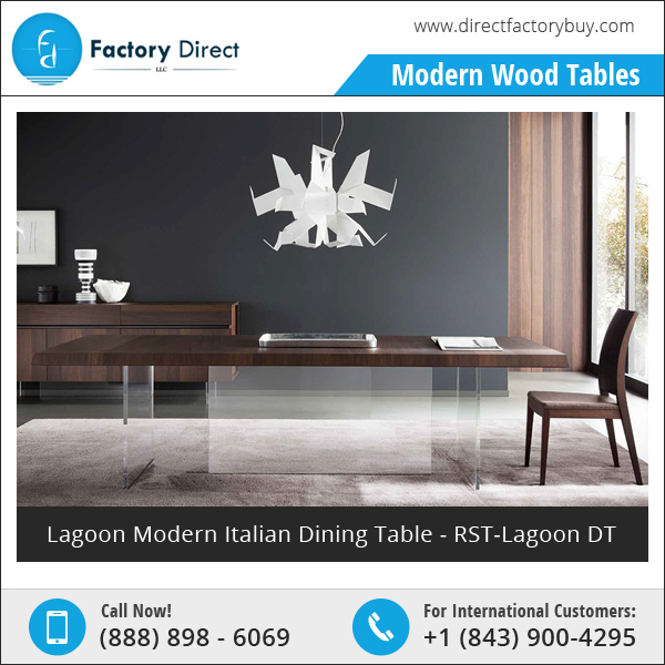 Lagoon Modern Oak Wood Italian Dining Table at Best Price