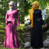 Latest Design Muslim Dress Maxi Dress Dark Fuchsia Long Sleeve Dubai Turkey Islamic Woman Dress