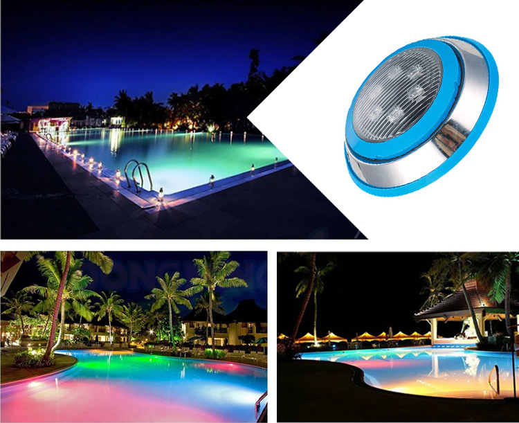Stainless steel wall mounted 9w rgb waterproof led light for swimming pool