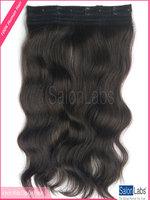 10 inch Indian Human Hair Clip-on Natural Wavy #1B Human Hair Extensions