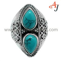 Modern Vintage Gemstone Turquoise Pear Shape 925 Sterling Silver Ring, Indian 925 Silver Jewelry, Online Manufacture Supplier