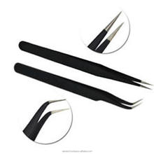 2Pcs/set Straight & Curved Tweezers for Nail Art False Eyelash Extension Stainless Steel Nail Tweezers Nippers Nail Art Tools