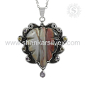 Attractive design multi gemstone pendant 925 sterling silver jewelry wholesale