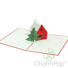 wholesale factory manufacture pop up 3d laser cutting paper handmade greeting card 3d christmas decor