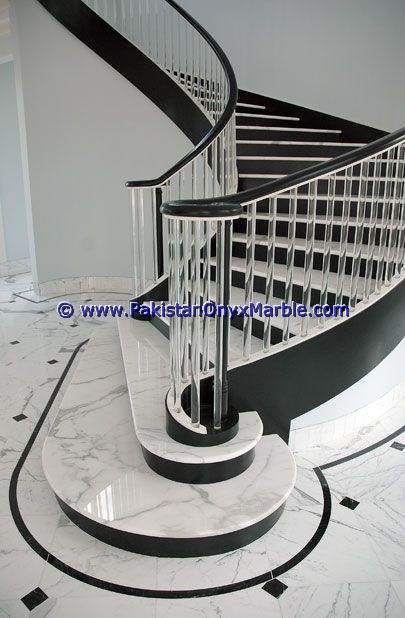 factory price marble stairs steps risers Jet Black marble modern design home office decor natural marble stairs
