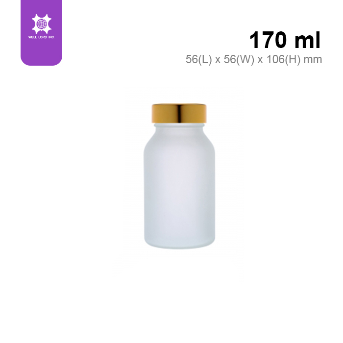 25 ml drug and food storage frosted glass with gold lid container
