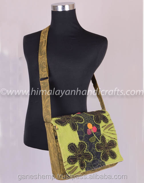 Elegant Flower Artwork Crossbody Flap over Purse with Adjustable Shoulder Strap RSMB-0506-A