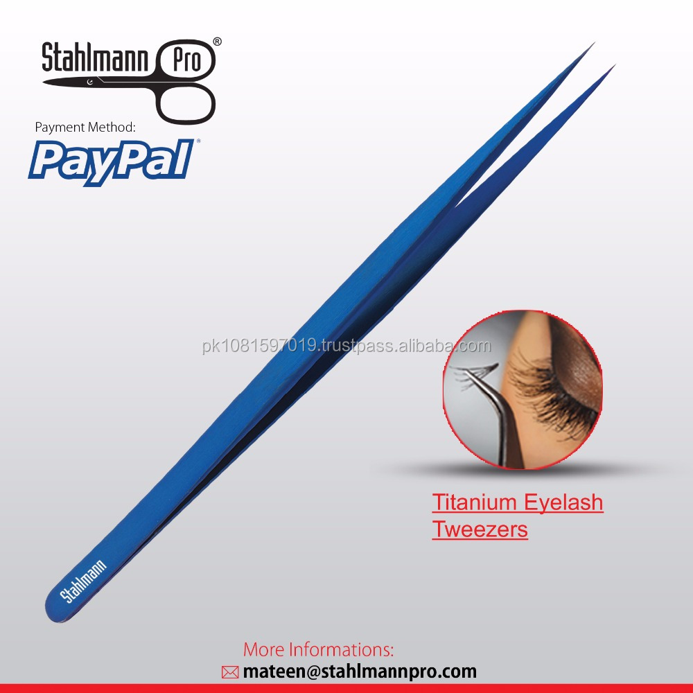 Slim Straight A-Tip Blue Plasma coating Eyelash Extension Tweezers Watchmaker and Jewellery Repairing Tools