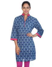 Hand Block Printed Floral Cotton Indigo And Magenta V Neck 3/4th Sleeves Women's Kurti