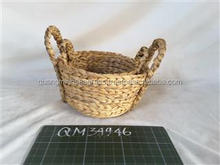 Handling mini water hyacinth fruit basket lovely wicker decorative design small size bamboo babies shopping basket