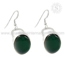 Latest design green onyx gemstone silver earrings 925 silver jewelry supplier sterling silver earrings exporters
