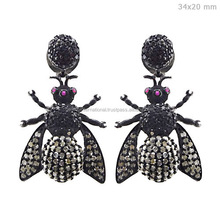 Pave Diamond Insect Jewelry 925 Sterling Silver Bug Earrings