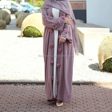 2017 Abaya Simple Designs Mauve Purple With Flower Abaya Dress
