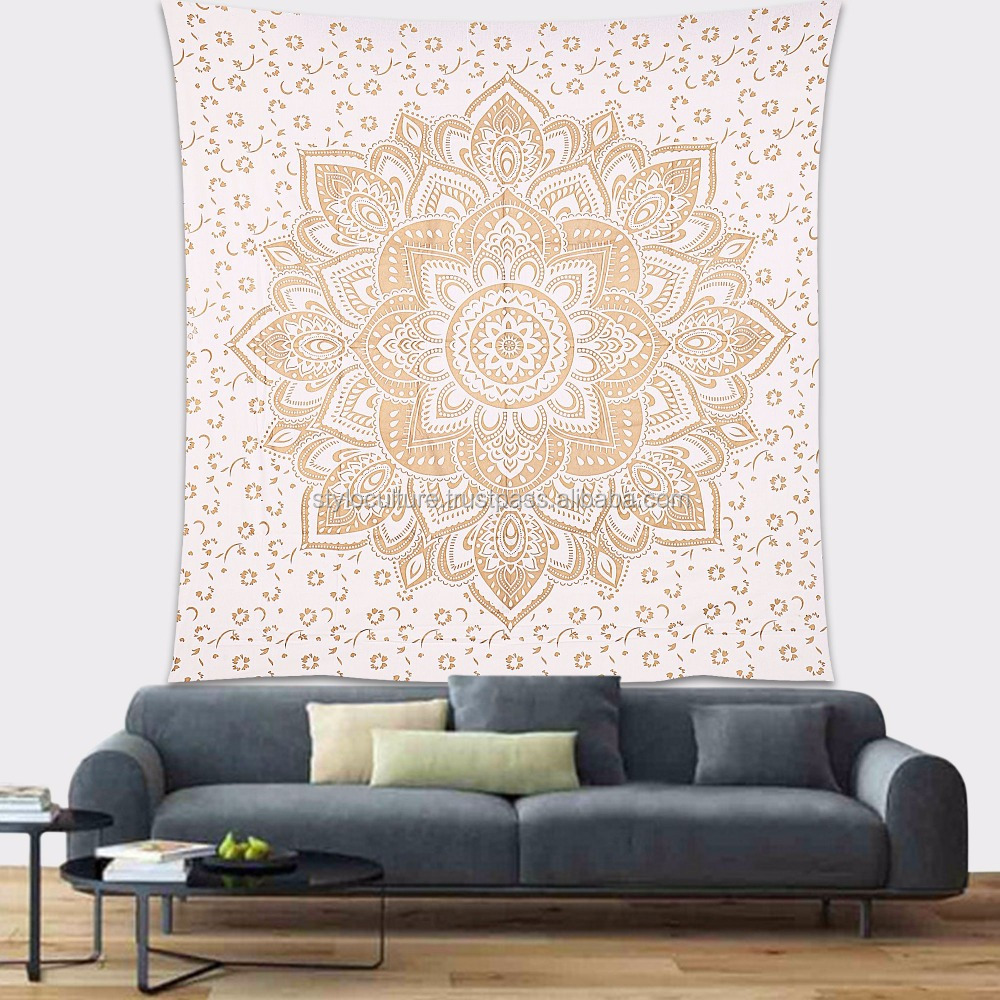 Indian Wall Hanging Gold Bohemian Printed 100% Cotton Wall Decoration Floral Queen Mandala Wall Tapestry