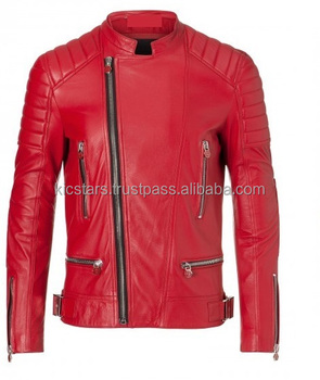 2018 Top Quality Zipper Red Fashion Leather Jacket for Men