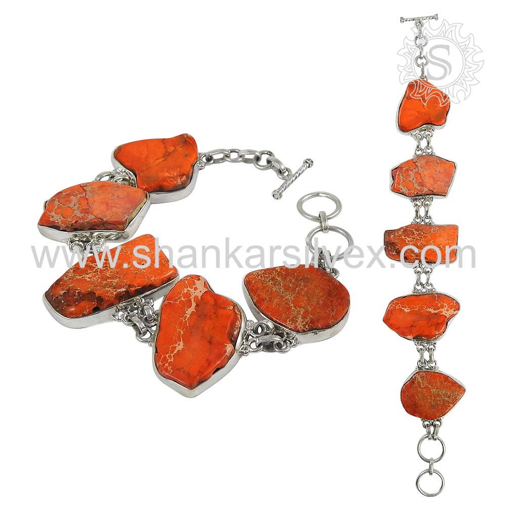 Charming red raw turquoise gemstone silver bracelet 925 sterling silver bracelets handmade jewellery exporter