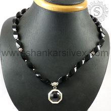 Black onyx beautiful necklace 925 sterling silver gemstone jewelry wholesale supplier
