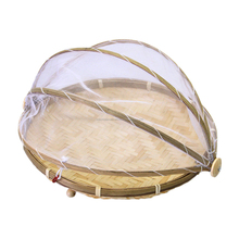 Bamboo fruit basket with net cover wholesale