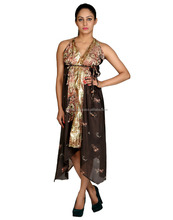 Indian Designer Floral Printed Art Silk Fancy Party Wear Casual Gown\ Dress For Women