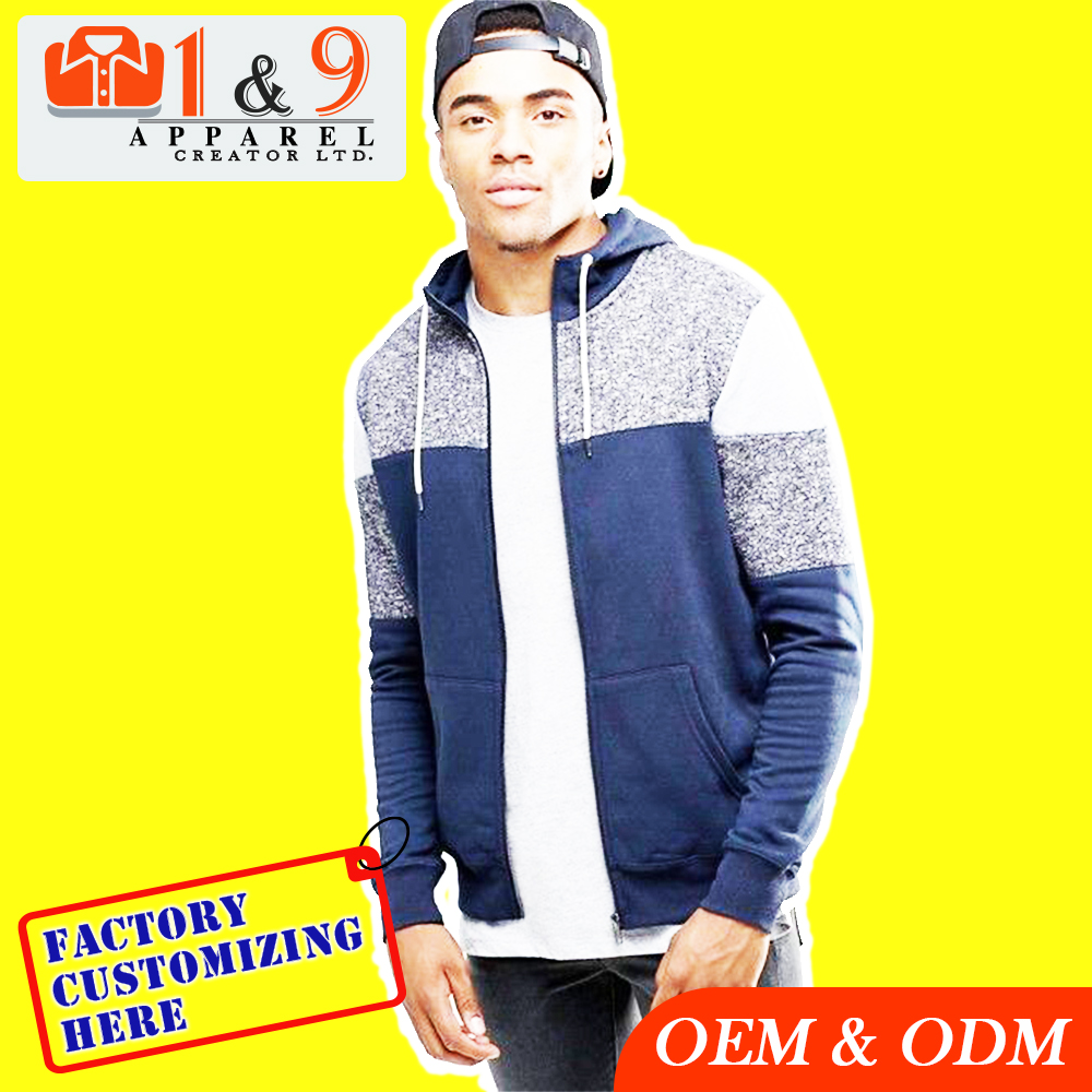 New look trendy hoodies men with blocked detail in navy manufacturer in Bangladesh