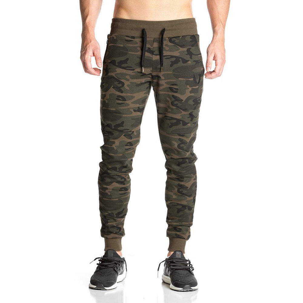 Men Gym Fitness Camouflage Tracksuit Bottoms Skinny Joggers Sport Pants Trousers