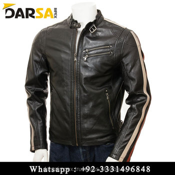 classic black biker leather jacket for men