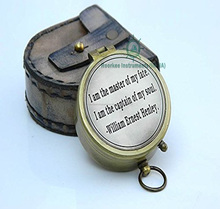 """I am the master of my faite: i am the captain of my soul"" Solid Brass Compass w/Case."