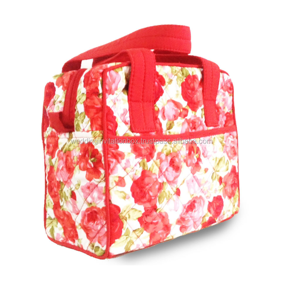 Sale Thai Roses Pattern Printed Quilted Cotton Handbag