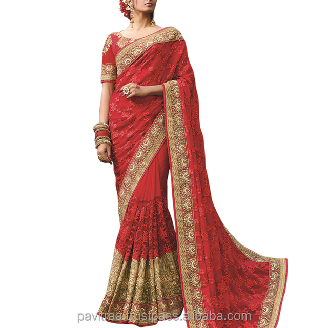 Georgette & Net Thread Embroidery Work Red Saree