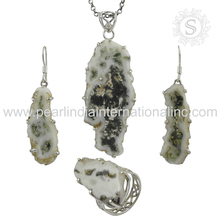 Buy online Solar fossil antique silver jewelry gemstone set 925 sterling silver handmade jewelry for women's