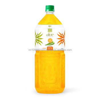 High qulaity FDA, Halal, Iso Haccp 2000ml Pet Bottle Orange flavor aloe vera Drink