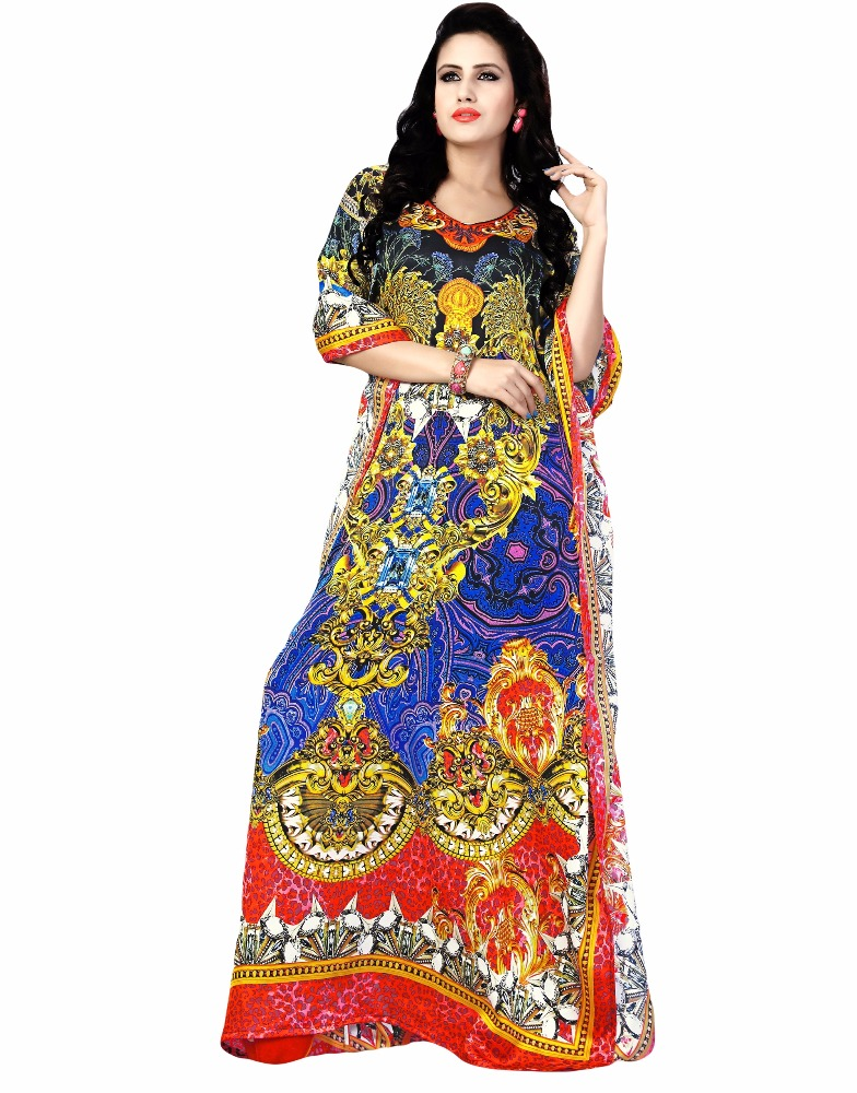 Exotic India Long Printed Kaftan with Dori at Waist (kaftans 2017)