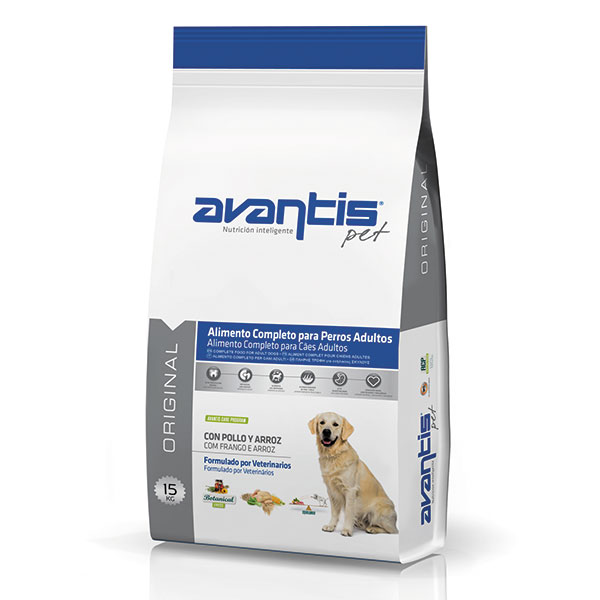 Premium dog food with chicken and rice. Adult dogs of medium and large breeds