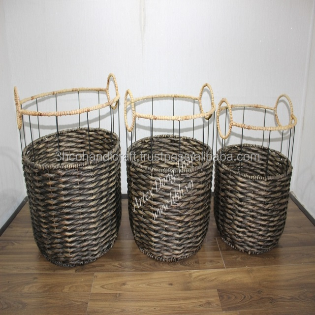 Set of 3 vietnamese Seagrass baskets Natural Color, Home decoration and furniture - SD7478A-3BR05