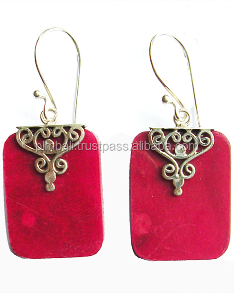 ER1049-caps earring wire design 15x20 mm coral