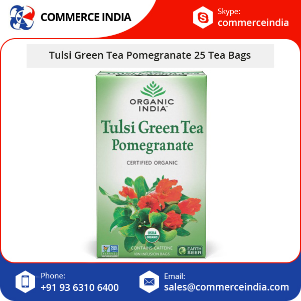Best Brand Organic Pomegranate Flavor 25 Tulsi Green Tea Infusion Bags at Bulk Price