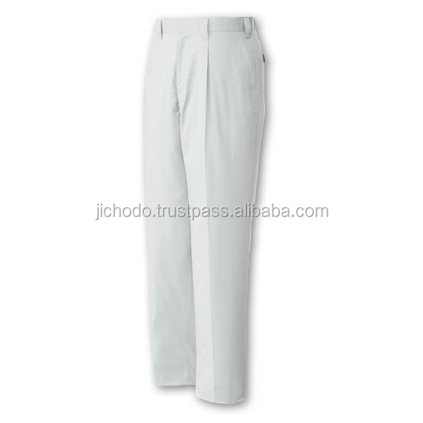 Polyester cotton twill pants mens work ( single pleated ), made with stretch fabric. Made by Japan
