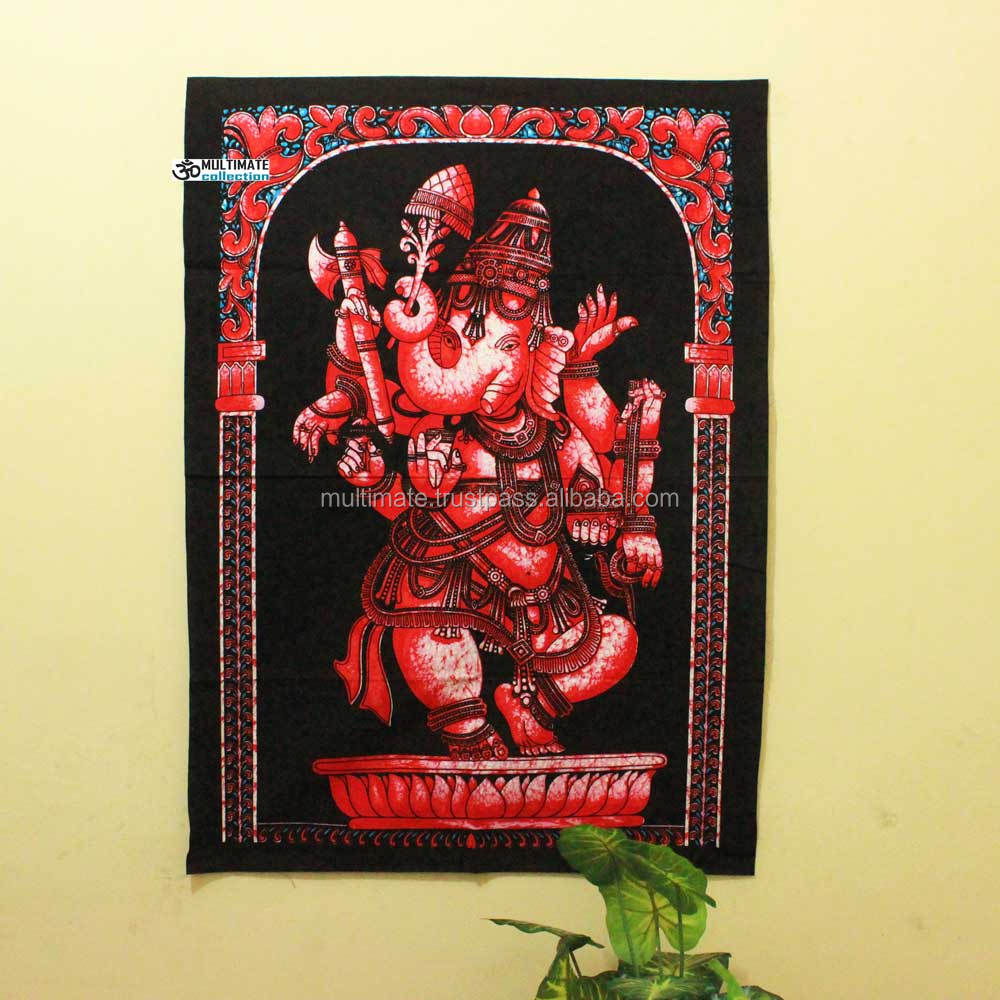 Cheap Religious Red Ganesha Poster Brush Painted Ethnic Tapestry