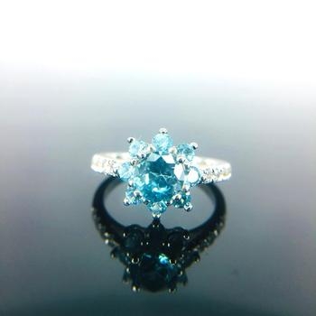 925 Sterling Silver Natual Blue Zircon Women Engagement Ring Fine Wedding Gemstone Jewelry Round Shape